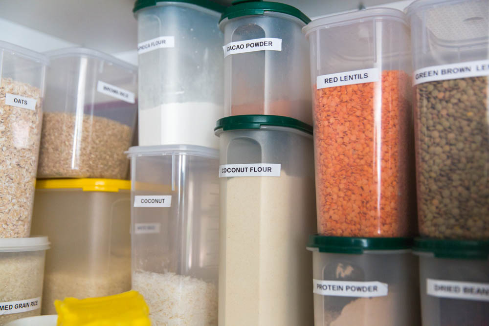 stacked containers in a pantry